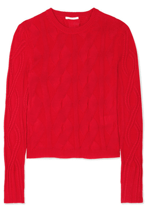 Chloé - Cable-knit Wool And Silk-blend Sweater - Red