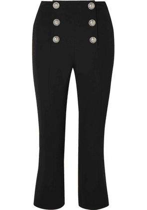 Balmain - Cropped Button-embellished Wool-twill Bootcut Pants - Black