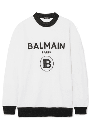 Balmain - Metallic Intarsia Wool-blend Sweater - White