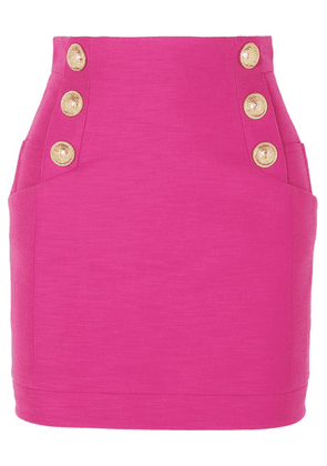 Balmain - Button-embellished Cotton Mini Skirt - Pink