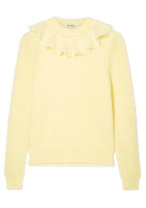 Miu Miu - Ruffled Mohair-blend Sweater - Yellow