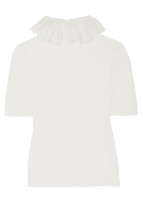 Chloé - Ruffled Silk Organza-trimmed Ribbed-knit Sweater - Ivory
