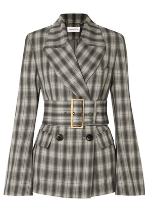 16ARLINGTON - Jaclyn Belted Double-breasted Checked Crepe Blazer - Gray