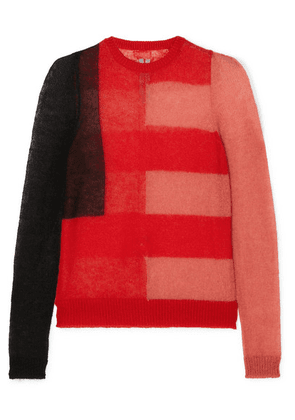 Rick Owens - Color-block Mohair-blend Sweater - Red