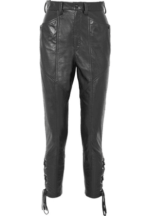 Isabel Marant - Cadix Lace-up Tapered Leather Pants - Black