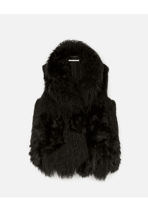 Stella McCartney Black Aurorar FUR FREE FUR Gilet, Women's, Size 10