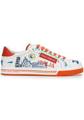 Dolce & Gabbana Roma Italia embellished sneakers - White