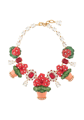 Dolce & Gabbana flower pot necklace - Red