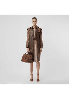 Burberry Leather Detail Showerproof Trench Coat, Size: 02, Brown