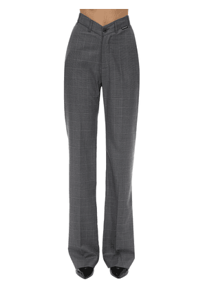 V Waist Wide Leg Check Wool Pants