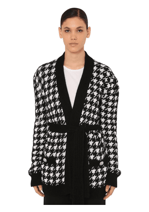 Belted Houndstooth Viscose Knit Cardigan