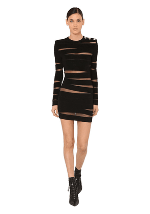 Cut Out Ribbed Knit Mini Dress W/tulle