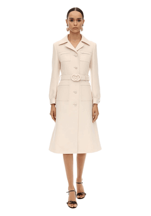 Gg Long Belted Wool Natté Coat