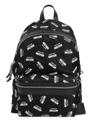 Allover Logo Printed Nylon Backpack