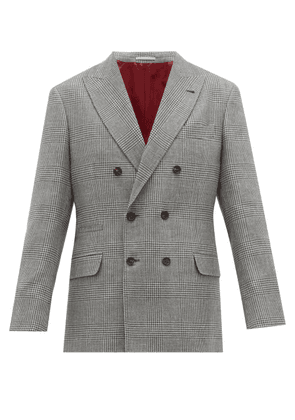 Brunello Cucinelli - Prince Of Wales Check Double Breasted Blazer - Mens - Grey