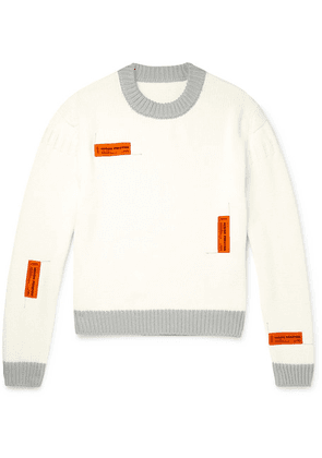 Heron Preston - Logo-appliquéd Contrast-tipped Cotton Sweater - White
