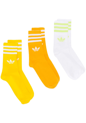 Adidas Mid-Cut Crew three-pack socks - Yellow