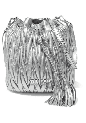 Miu Miu - Metallic Matelassé Leather Bucket Bag - Silver