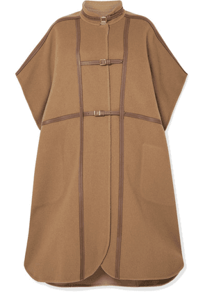 Burberry - Leather-trimmed Wool-blend Cape - Light brown