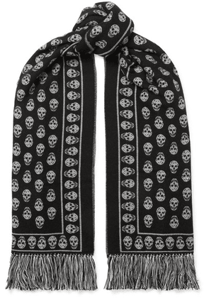 Alexander McQueen - Fringed Wool And Silk-blend Jacquard Scarf - Black