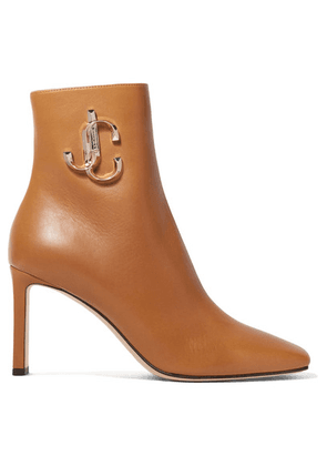 Jimmy Choo - Minori 85 Embellished Leather Ankle Boots - Tan