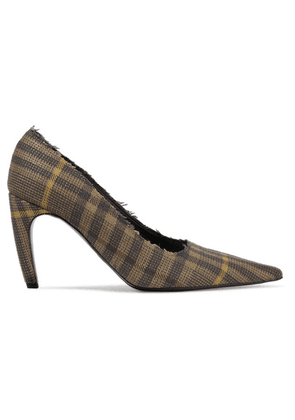 Proenza Schouler - Frayed Checked Wool And Linen-blend Pumps - Brown