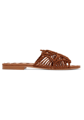 Carrie Forbes - Rosa Woven Suede Slides - Brown