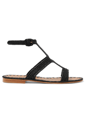 Carrie Forbes - Hind Woven Raffia Sandals - Black
