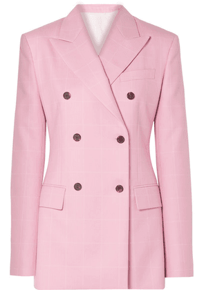 CALVIN KLEIN 205W39NYC - Oversized Double-breasted Checked Wool Blazer - Baby pink