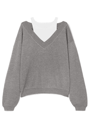 alexanderwang.t - Cropped Layered Wool And Stretch-cotton Jersey Sweater - Light gray