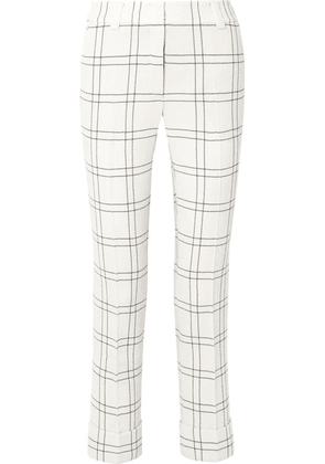 Akris - Maxima Checked Stretch Wool And Cotton-blend Crepe Straight-leg Pants - Ivory