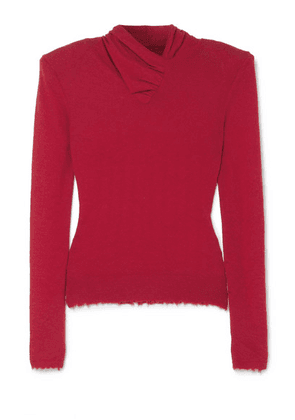 Unravel Project - Distressed Ruched Cashmere Sweater - Red