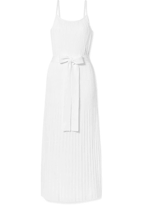 Theory - Belted Pleated Stretch Cotton-blend Midi Dress - White