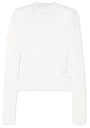 Unravel Project - Distressed Cashmere Sweater - White