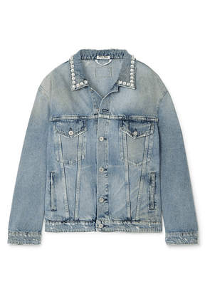 Miu Miu - Oversized Crystal-embellished Denim Jacket - Blue