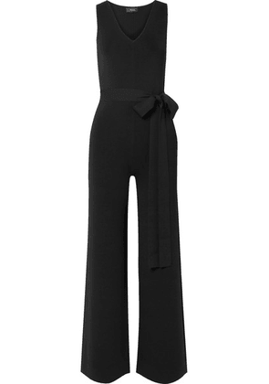 Theory - Belted Stretch-crepe Jumpsuit - Black
