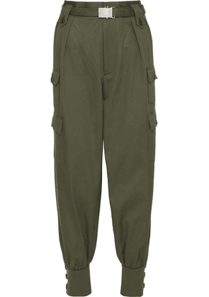 Miu Miu - Belted Cotton-gabardine Tapered Pants - Army green