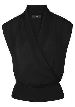 Theory - Cropped Wrap-effect Silk-crepe And Ribbed Jersey Top - Black