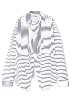 Balenciaga - Swing Oversized Embroidered Striped Cotton-poplin Shirt - Blue
