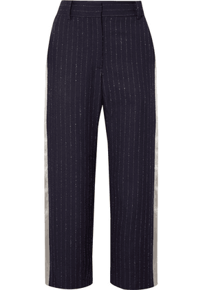 Sies Marjan - Bexley Cropped Satin-trimmed Pinstriped Wool-blend Twill Straight-leg Pants - Midnight blue