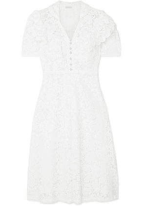 Miu Miu - Crystal-embellished Cotton-blend Lace Midi Dress - White