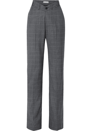 Balenciaga - Checked Wool And Silk-blend Wide-leg Pants - Gray