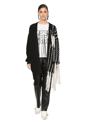 Over Fringed Wool Waved Knit Cardigan