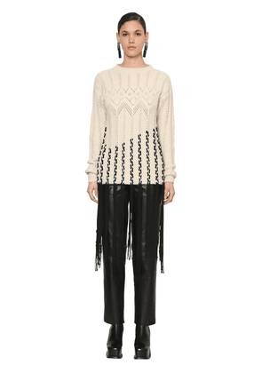 Over Fringed Wool Waved Knit Sweater