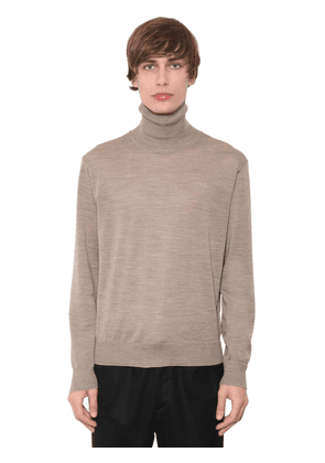 Wool Knit Sweater W/ Embroidered Rose