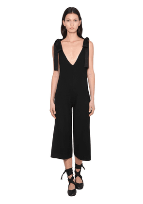 Virgin Wool Jumpsuit W/ Satin Bows