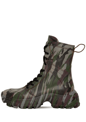 75mm Tall Crackled Leather Combat Boots