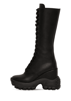 110mm Tall Leather Combat Boots