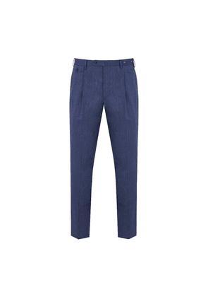 Blue Wool and Linen Unlined Pleated Sapphire Trousers