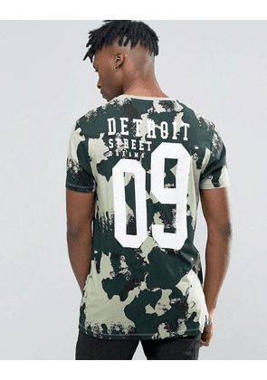 ASOS Longline T-Shirt In Camo With Number Back Print